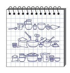 kitchen utensils in the sketchbook vector image