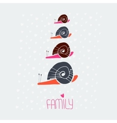 Snail family love card vector
