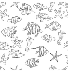 Seamless pattern with sea fishes black and white vector