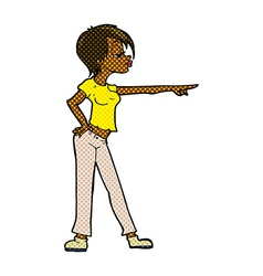 Comic cartoon woman pointing vector