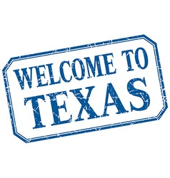 Texas - welcome blue vintage isolated label vector