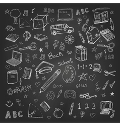 Back to school doodles in chalkboard background vector image vector image