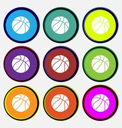 Basketball icon sign Nine multi colored round vector image vector image