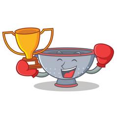 Boxing winner colander utensil character cartoon vector