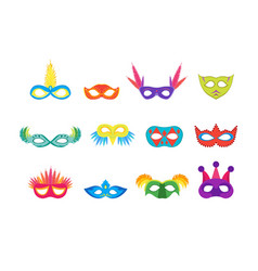 Cartoon carnival mask color icons set vector