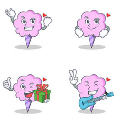 Cotton candy character set with successful vector