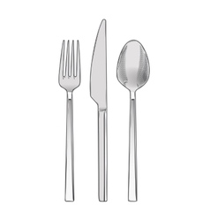 Cutlery set of fork knife and spoon vector image vector image