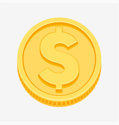 dollar symbol on gold coin vector image vector image