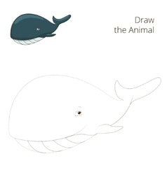 Draw the fish animal whale educational game vector image