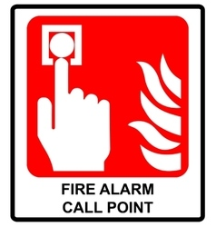 Fire alarm call point symbol emergency vector