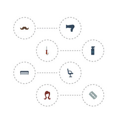 Flat icons female hairstylist elbow chair and vector