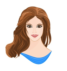 Girl with long brown hair elegance portrait vector image