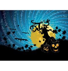Halloween tree and pumpkins vector image