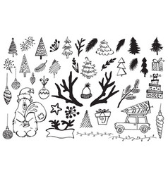 Handdrawn christmas elements isolated vector