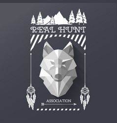 hunter socirty wolf vector image