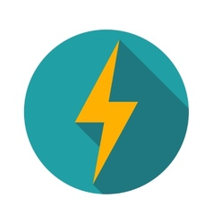 Lightning icon flat design long shadows vector image