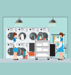 Maid loading laundry washing machine with cloth vector