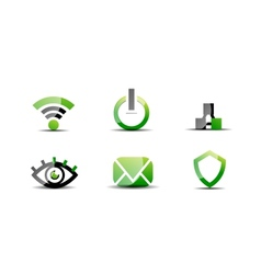 Modern web green black icon set vector image vector image