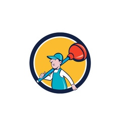 Plumber carrying plunger walking circle cartoon vector