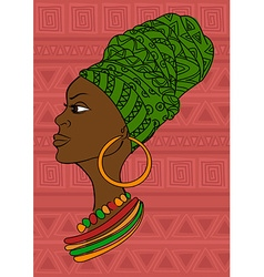 Portrait of beautiful african girl in a headscarf vector