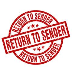 Return to sender round red grunge stamp vector