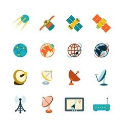 Satellite icons set vector
