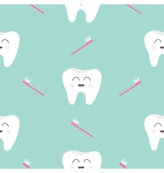 Seamless pattern brush tooth health cute funny vector