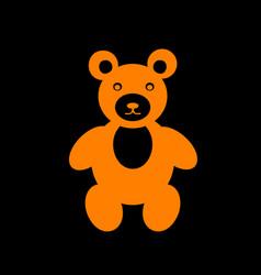 Teddy bear sign orange icon on black vector