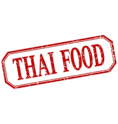 Thai food square red grunge vintage isolated label vector