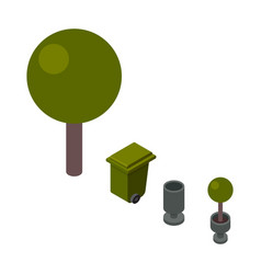 trees and trashcan isometric vector image