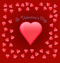 valentine s day greeting card on red background vector image vector image