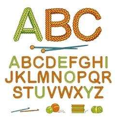 Warm Knitting Alphabet Icon Set vector image