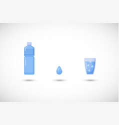 Water flat icon set vector