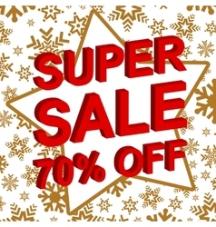 Winter sale poster with super sale 70 percent off vector