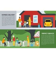 Express delivery and perfect service flat concept vector