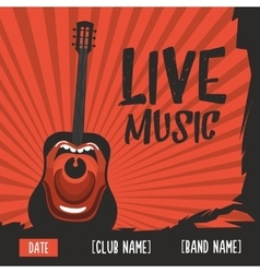 Live music poster with a screaming guitar vintage vector