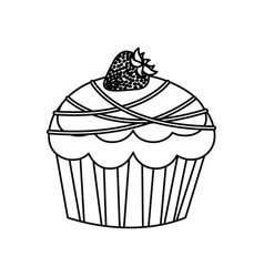 Figure muffin with chocolate and strawberry icon vector