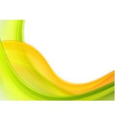 Colorful green orange abstract blurred waves vector
