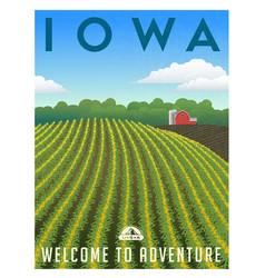 Iowa united states retro travel poster vector