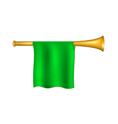 Trumpet with green flag vector