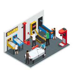 Game club interior colored concept vector