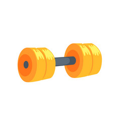 yellow dumbbell sport equipment cartoon vector image