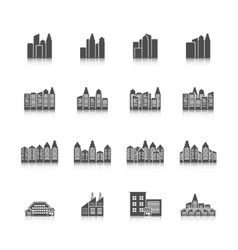 Cityscape icons set vector