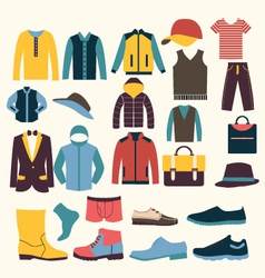 Icons set of fashion elements men clothes vector