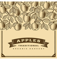 Retro apple harvest card brown vector
