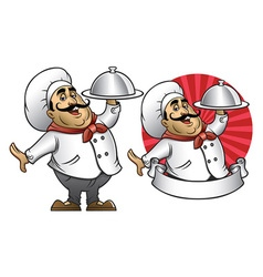 Cartoon of chef presenting the dish vector