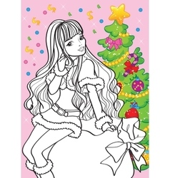 Coloring book of beautiful girl sitting on bag vector
