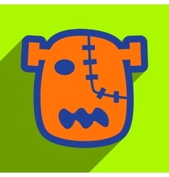 Flat with shadow icon zombie head on a bright vector