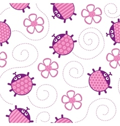 Ladybugs and flowers pink seamless pattern vector