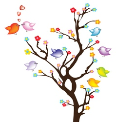 Bird on tree vector